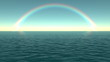 Rainbow over the water. Loop background.