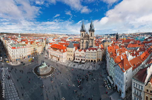 Wide angle panorama of central square in Prague, Czech Republic Poster