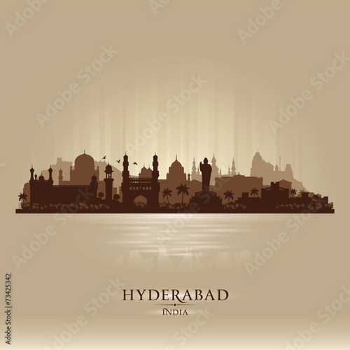 Hyderabad India city skyline vector silhouette Fototapete