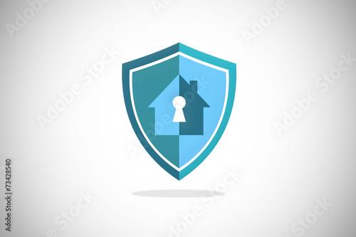 Fotografie, Obraz  house key security protection shield logo