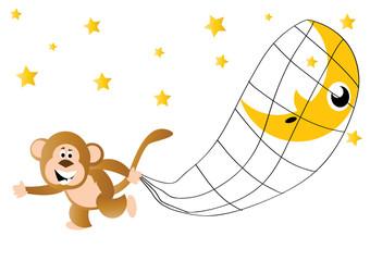 Naklejka Do pokoju dziecka małpa kradnąca księżyc