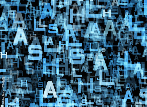 chaotic flying of many abstract blue alphabet letters - Buy