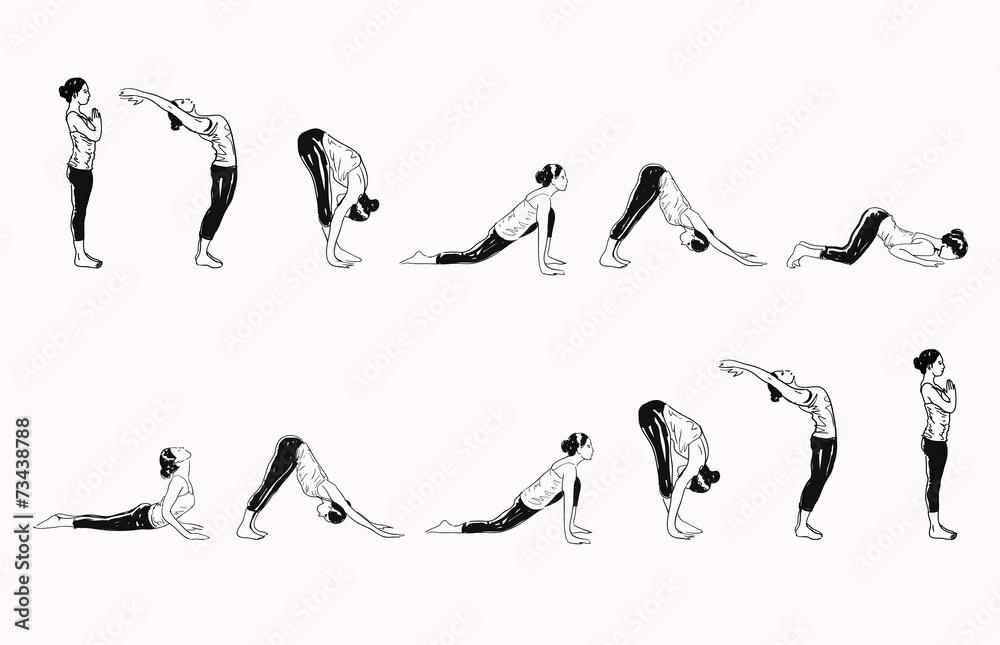 Fotografie, Obraz Suria Namaskar - Sun Salutation Complex Of Yoga Asanas
