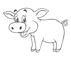 Black and white Pig Cartoon