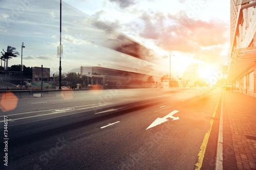 Recess Fitting Deep brown blur motion traffic trail in modern city