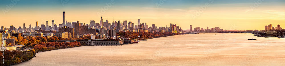 Fototapety, obrazy: New York and Hudson River panorama at sunset