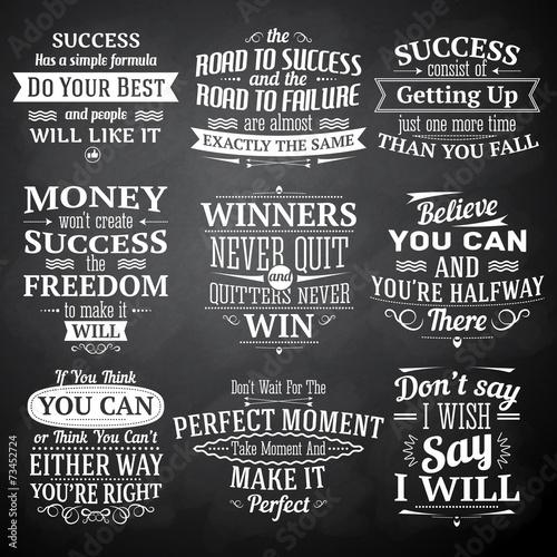 Foto  Success quotes chalkboard set