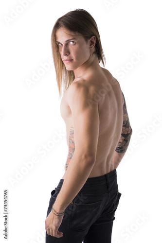 Beautiful young long haired man shirtless, isolated Plakát