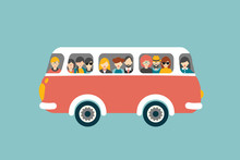 Retro Bus With Passengers. Fla...