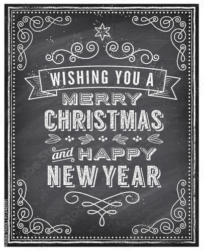 Fototapeta Vector Christmas Chalkboard Greeting Card obraz na płótnie