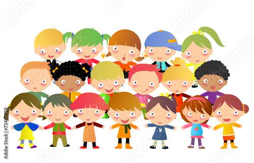 Foto op Canvas Regenboog Group of kids