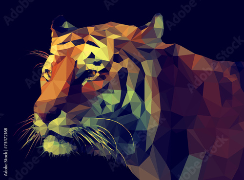 Canvas Print Low Poly Vector Tiger