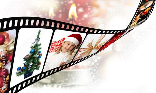 Slika na platnu Pellicola di film con immagini Natalizie