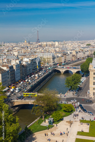 Photo  View of Paris from Notre Dame cathedral