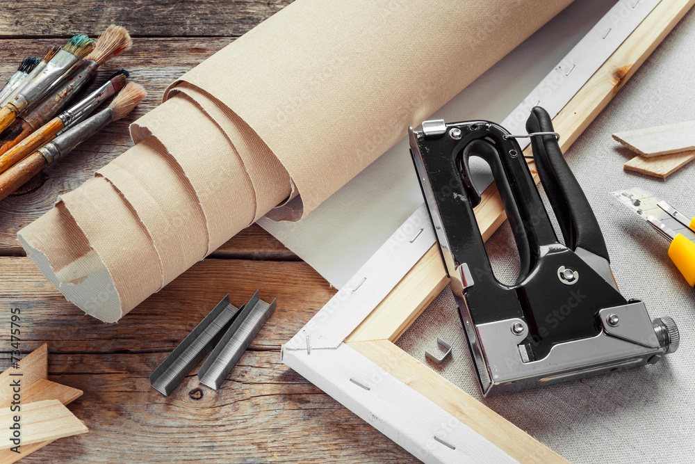 Fototapety, obrazy: Artist canvas in roll, canvas stretcher, staple gun and paintbru