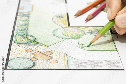Deurstickers Wit Landscape architect design garden plan