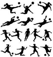 Women Playing Soccer Vector Si...