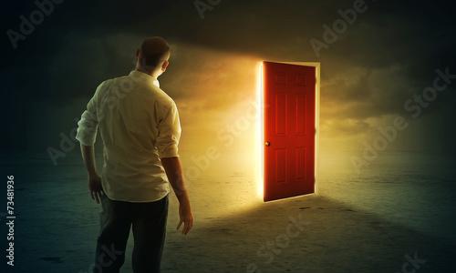 Photo  Bright glowing door