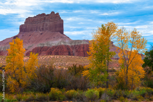 Keuken foto achterwand Natuur Park Wild Horse Butte Fall Colors and Beautiful Dramatic Sky Utah Lan