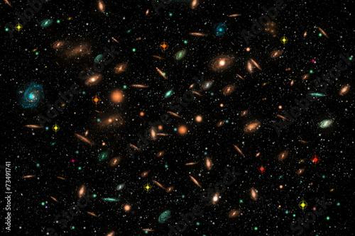 Printed kitchen splashbacks Spiral Cluster of Galaxies in deep space