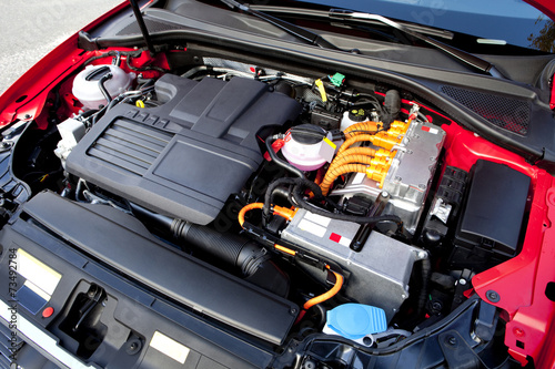 Leinwand Poster  Hybrid car engine.