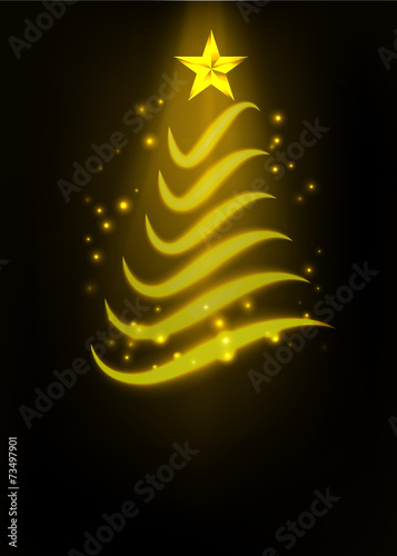 Abstract Golden Christmas Tree Vector Illustration Buy This Stock