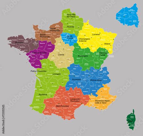 Obraz na plátně  france 13 régions+départements 7 calques propres
