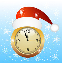 Clock In A Christmas Red Cap