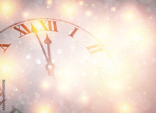 Fotografie, Obraz  New year clock with snowy background.