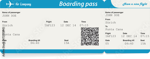 Obraz Vector image of airline boarding pass ticket with QR2 code - fototapety do salonu