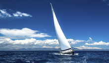 Sailing Ship Yachts With White...