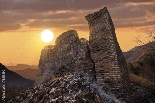 Foto op Canvas Chinese Muur ruined great wall in the dusk