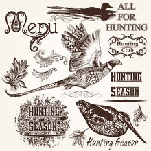 Collection Of Vector Hand Drawn Animals Hunting Season Design