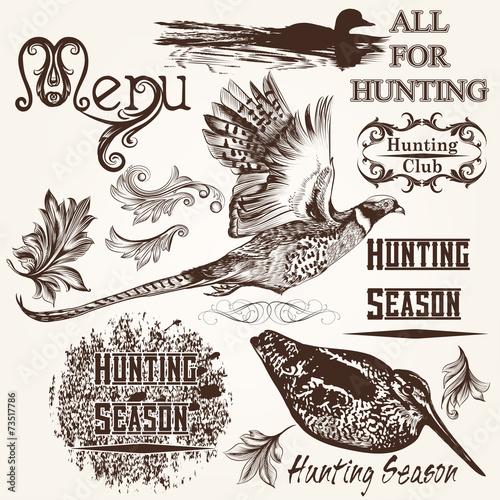 Fototapeta Collection of vector hand drawn animals hunting season design