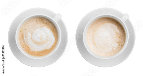 Tablou Canvas Coffe latte or cappuccino cup top view isolated on white
