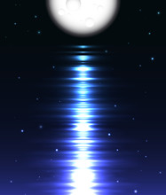 Moon Reflection Over Water Aga...