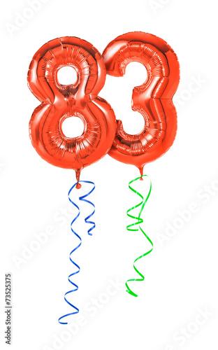Fotografia  Rote Luftballons mit Geschenkband - Nummer 83