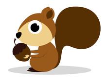 Cute Cartoon Squirrel Eating Peanuts