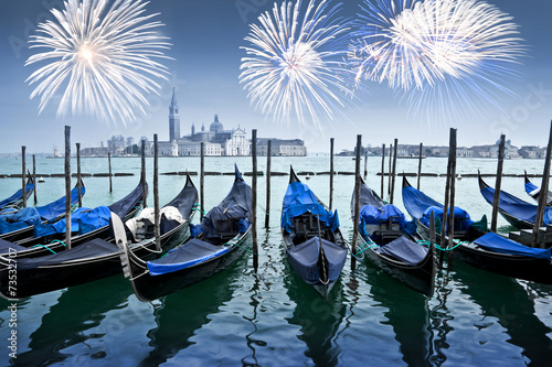 Gondolas and fireworks , Venice by night, Italy