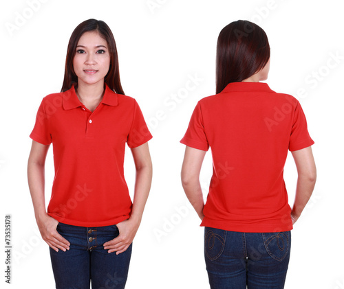 9efec4bb36df set of blank polo shirt (front, back) on woman isolated on white ...