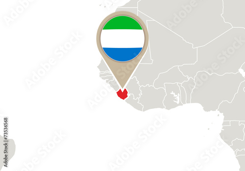 Sierra Leone On World Map Buy This Stock Vector And Explore