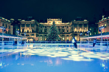 Ice Rink With Huge Christmas T...