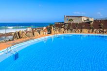 Swimming Pool In Mountain Landscape Of Fuerteventura Island
