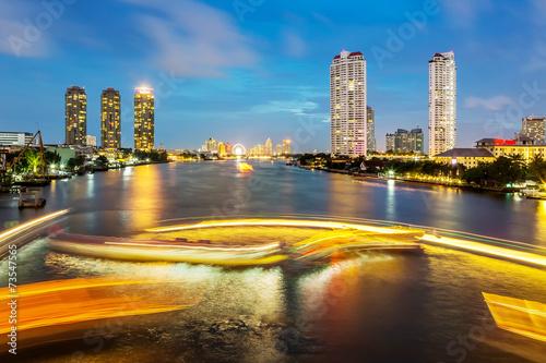 River Traffic Bangkok city Canvas Print