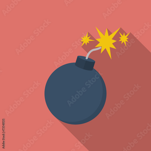 Icon of Bomb with sparkles. Flat style Poster