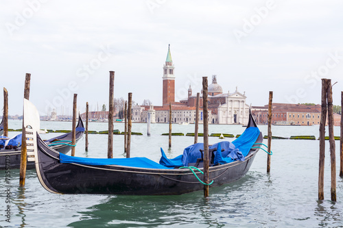 In de dag Gondolas Gondola on background St. George Church in Venice
