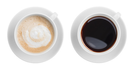 Fototapeta Kawa cappuccino and black espresso coffe cup top view isolated on