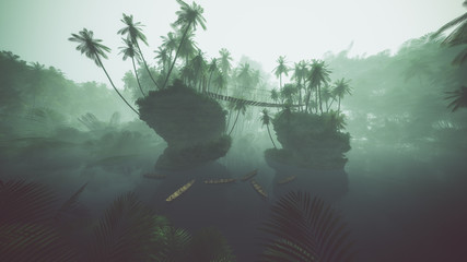 Wooden kayaks on misty lake in jungle with palms. Backlit.