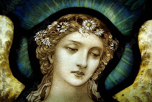 Fotografie, Obraz  Angel in stained glass