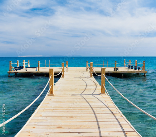 Poster Turquoise Pier in Heavenly Blue Place